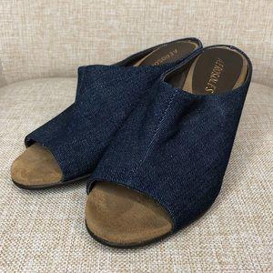 Womens denim peep toe wedge size 6 aerosoles
